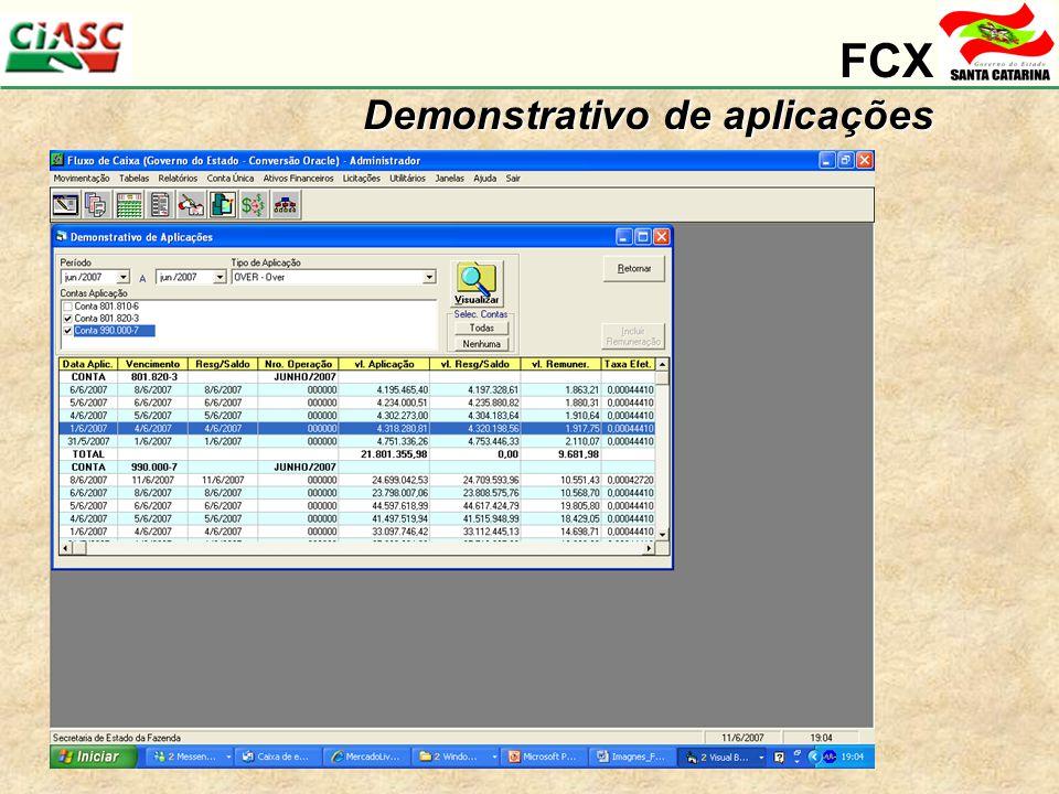 FCX Demonstrativo de aplicações