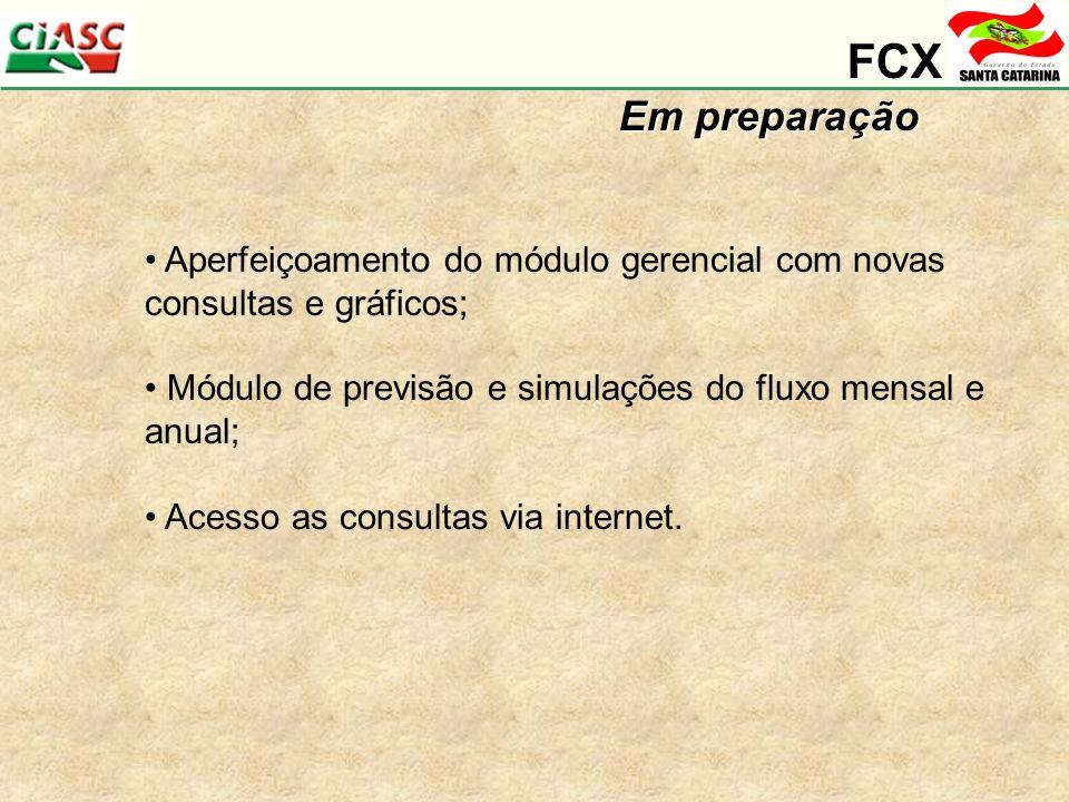 FCX Em preparação Aperfeiçoamento do módulo gerencial com novas consultas e gráficos; Módulo de previsão e simulações do fluxo mensal e anual; Acesso as consultas via internet.