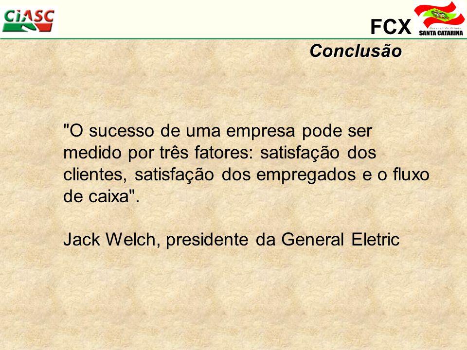 FCXConclusão O sucesso de uma empresa pode ser medido por três fatores: satisfação dos clientes, satisfação dos empregados e o fluxo de caixa .