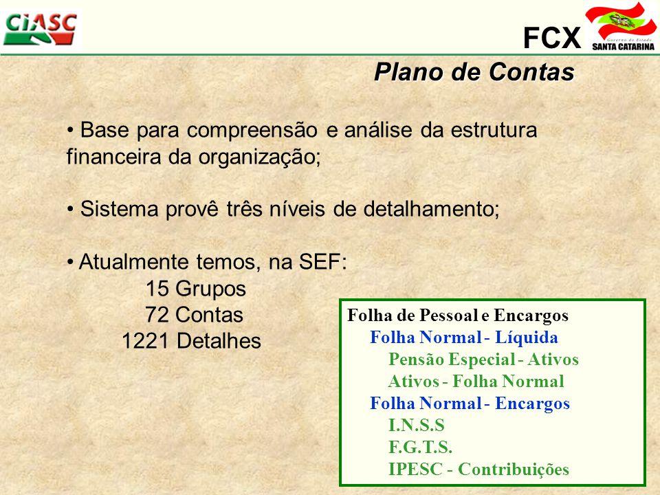 FCX Plano de Contas Base para compreensão e análise da estrutura financeira da organização; Sistema provê três níveis de detalhamento; Atualmente temos, na SEF: 15 Grupos 72 Contas 1221 Detalhes Folha de Pessoal e Encargos Folha Normal - Líquida Pensão Especial - Ativos Ativos - Folha Normal Folha Normal - Encargos I.N.S.S F.G.T.S.