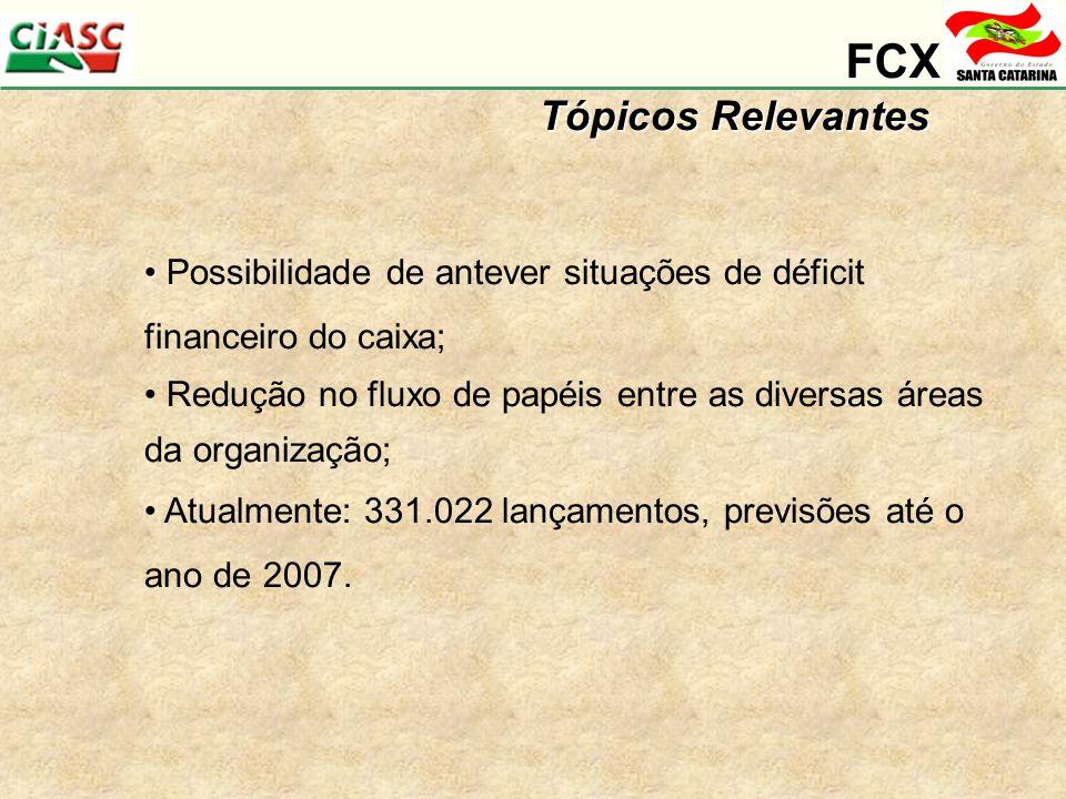 FCX Tópicos Relevantes Possibilidade de antever situações de déficit financeiro do caixa; Redução no fluxo de papéis entre as diversas áreas da organização; Atualmente: 331.022 lançamentos, previsões até o ano de 2007.