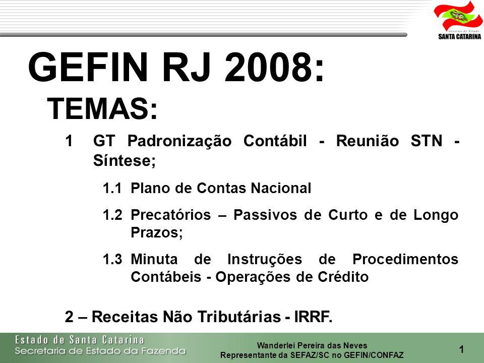 Wanderlei Pereira das Neves Representante da SEFAZ/SC no GEFIN/CONFAZ 2 1Reunião STN - Síntese; 1.1Plano de Contas Nacional; 1.2Precatórios – Passivos de Curto e de Longo Prazos; 1.3Minuta de Instruções de Procedimentos Contábeis - Operações de Crédito