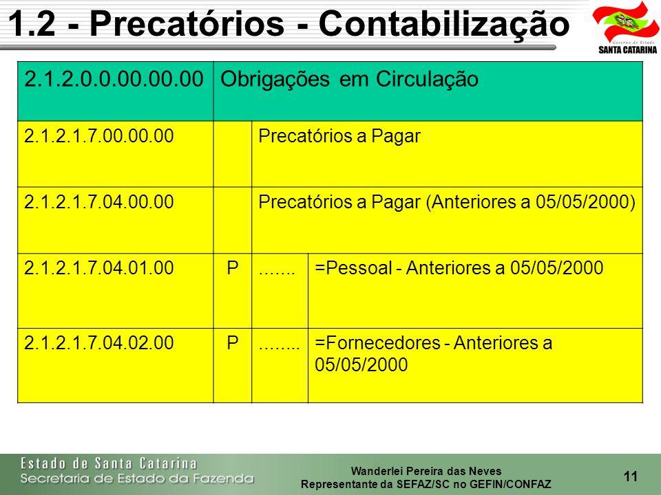 Wanderlei Pereira das Neves Representante da SEFAZ/SC no GEFIN/CONFAZ 12 1.2 - Precatórios - Contabilização 2.1.2.0.0.00.00.00Obrigações em Circulação 2.1.2.1.7.05.00.00Precatórios a Pagar (A Partir 05/05/2000) 2.1.2.1.7.05.01.00P.....=Pessoal - A Partir de 05/05/2000 2.1.2.1.7.05.02.00P...=Fornecedores - Anteriores a 05/05/2000