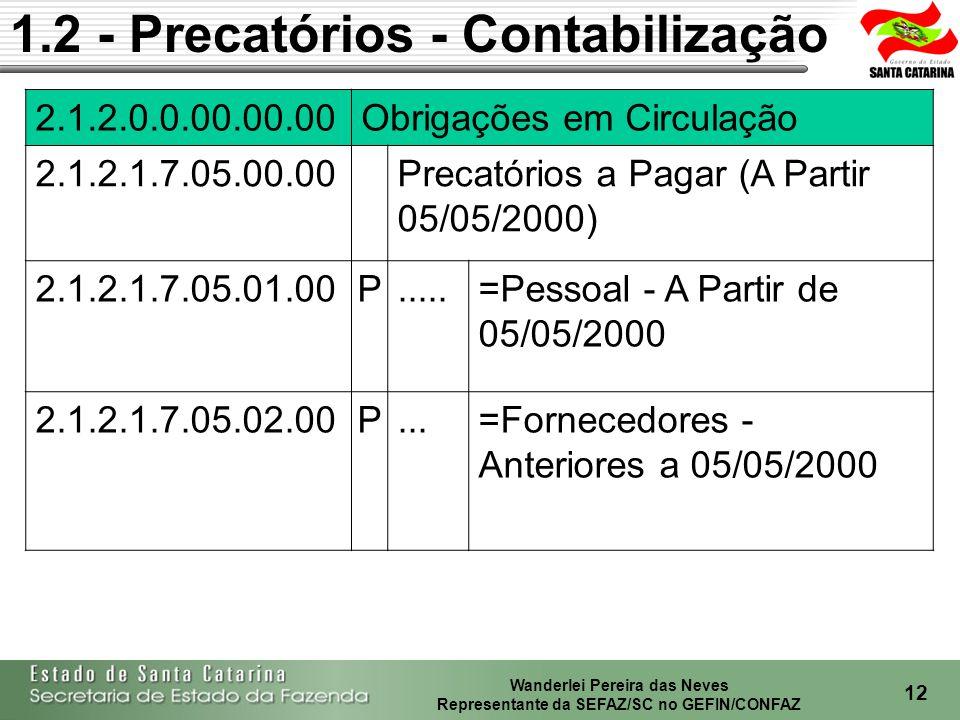 Wanderlei Pereira das Neves Representante da SEFAZ/SC no GEFIN/CONFAZ 13 1.2 - Precatórios - Contabilização 2.2.2.0.0.00.00.00 Obrigações Exigíveis a Longo Prazo 2.2.2.4.6.00.00.00 Precatórios de Exercícios Anteriores 2.2.2.4.6.01.00.00P.......=Precatórios de Fornecedores - Exercícios Anteriores 2.2.2.4.6.02.00.00P.......=Precatórios de Pessoal - Exercícios Anteriores 2.2.2.4.7.00.00.00 Precatórios a Pagar 2.2.2.4.7.01.00.00 Precatórios a Pagar (anteriores 05/05/2000) 2.2.2.4.7.01.01.00P.........Pessoal - Anteriores 05/05/2000 2.2.2.4.7.01.02.00P.........Fornecedores - Anteriores 05/05/2000 2.2.2.4.7.02.00.00 Precatórios a Pagar (a partir 05/05/2000) 2.2.2.4.7.02.01.00P.......Pessoal - A partir 05/05/2000 2.2.2.4.7.02.02.00P........Fornecedores - A partir 05/05/2000