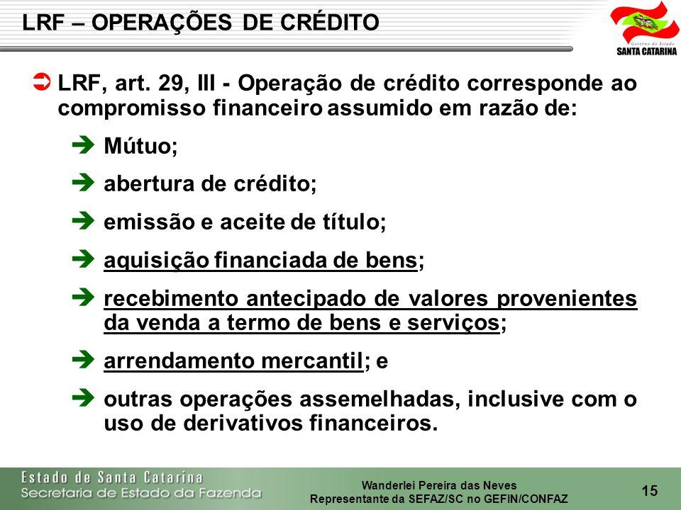 Wanderlei Pereira das Neves Representante da SEFAZ/SC no GEFIN/CONFAZ 16 Art.