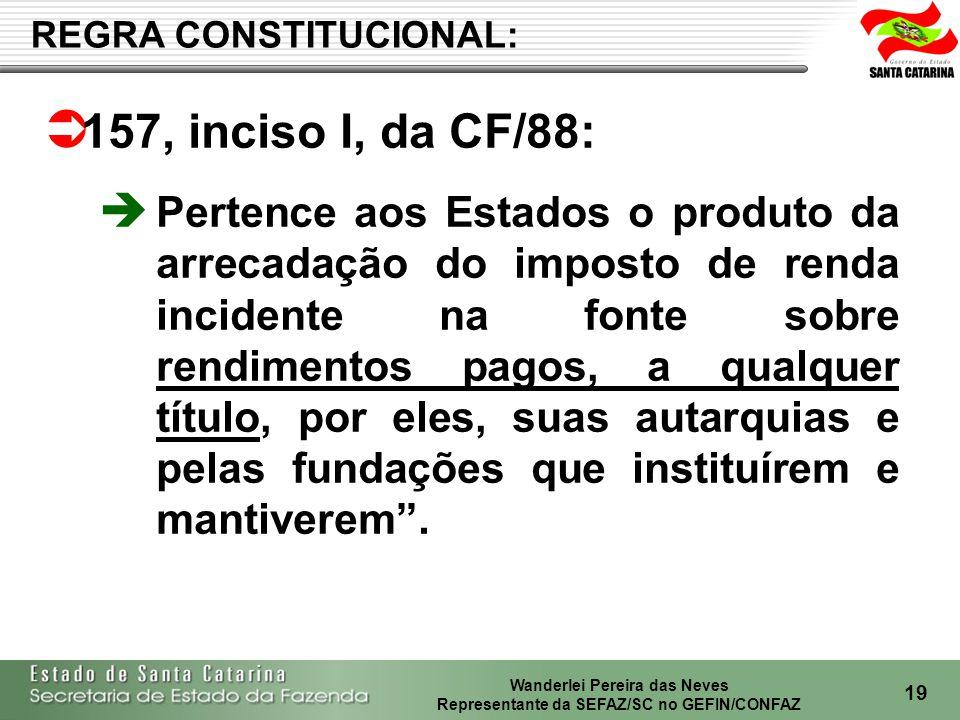 Wanderlei Pereira das Neves Representante da SEFAZ/SC no GEFIN/CONFAZ 20 CF/88 - art.
