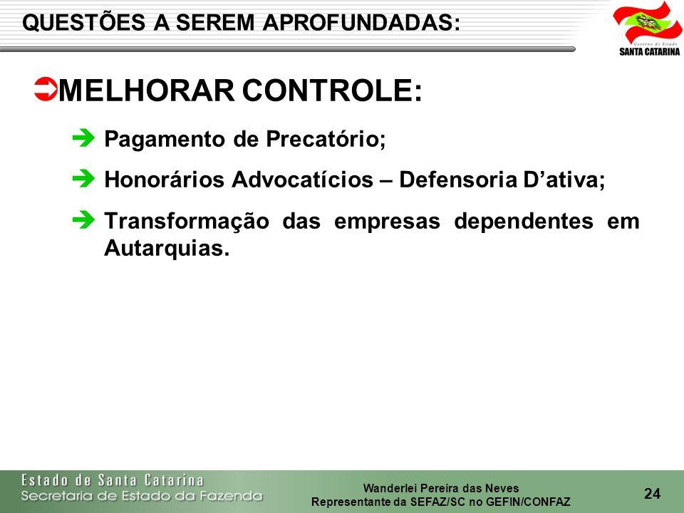 Wanderlei Pereira das Neves Representante da SEFAZ/SC no GEFIN/CONFAZ 24 MELHORAR CONTROLE: Pagamento de Precatório; Honorários Advocatícios – Defensoria Dativa; Transformação das empresas dependentes em Autarquias.