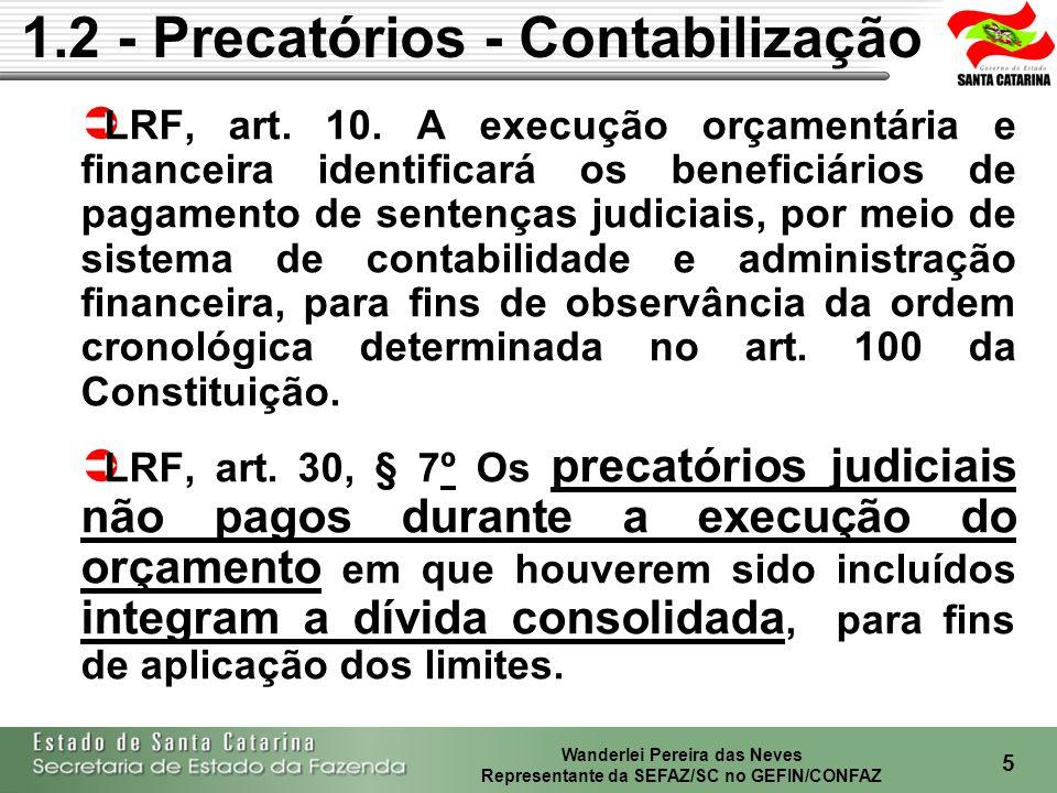 Wanderlei Pereira das Neves Representante da SEFAZ/SC no GEFIN/CONFAZ 6 LRF, art.