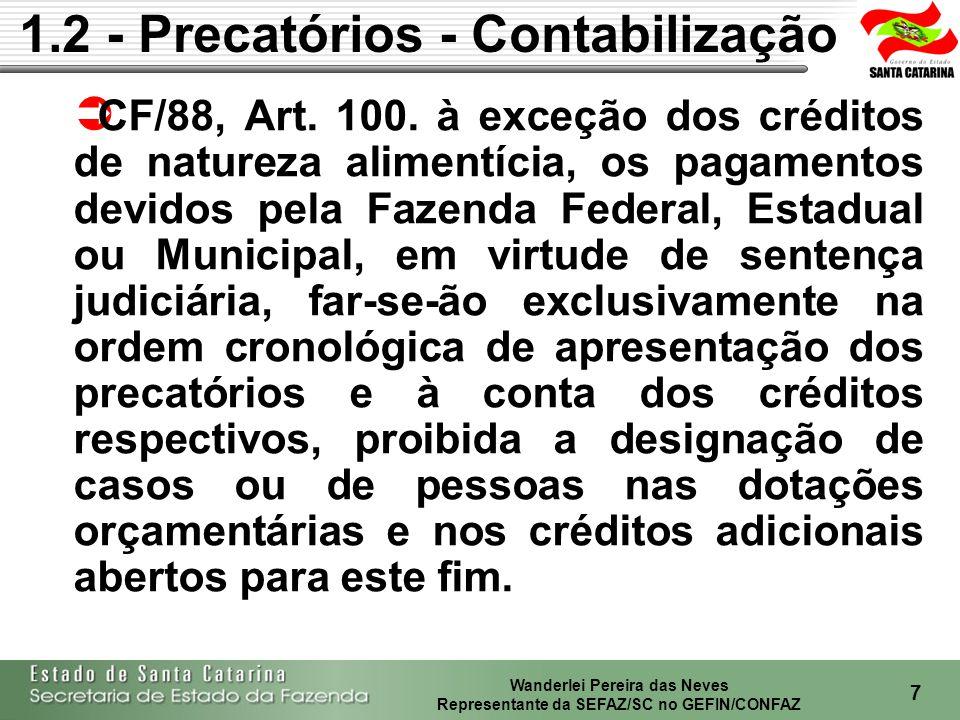 Wanderlei Pereira das Neves Representante da SEFAZ/SC no GEFIN/CONFAZ 8 CF/88, Art.