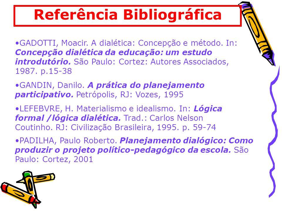 Referência Bibliográfica GADOTTI, Moacir.A dialética: Concepção e método.