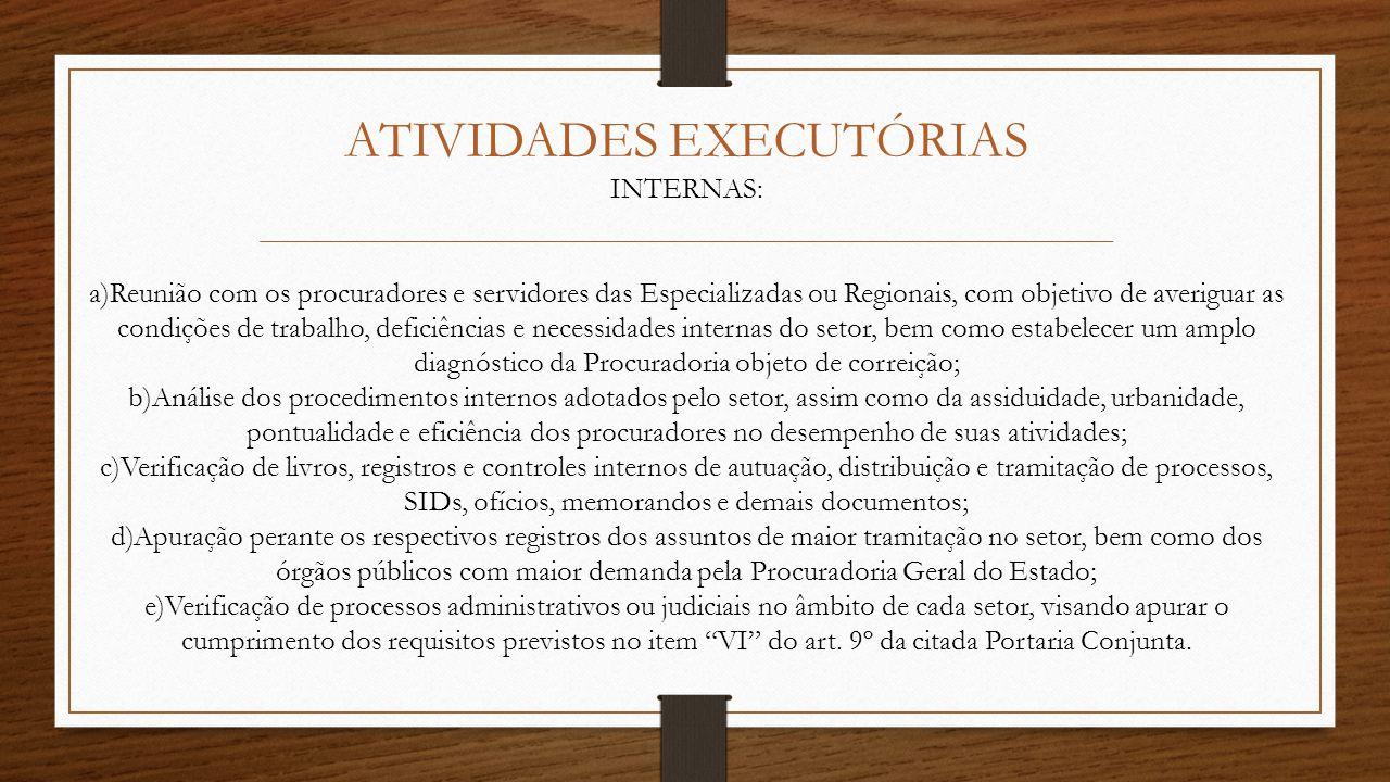 ATIVIDADES EXECUTÓRIAS INTERNAS: a)Reunião com os procuradores e servidores das Especializadas ou Regionais, com objetivo de averiguar as condições de