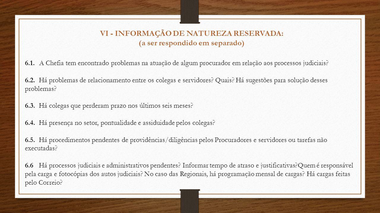 VI - INFORMAÇÃO DE NATUREZA RESERVADA: (a ser respondido em separado) 6.1.A Chefia tem encontrado problemas na atuação de algum procurador em relação