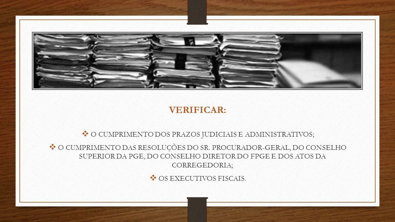VERIFICAR: O CUMPRIMENTO DOS PRAZOS JUDICIAIS E ADMINISTRATIVOS; O CUMPRIMENTO DAS RESOLUÇÕES DO SR. PROCURADOR-GERAL, DO CONSELHO SUPERIOR DA PGE, DO