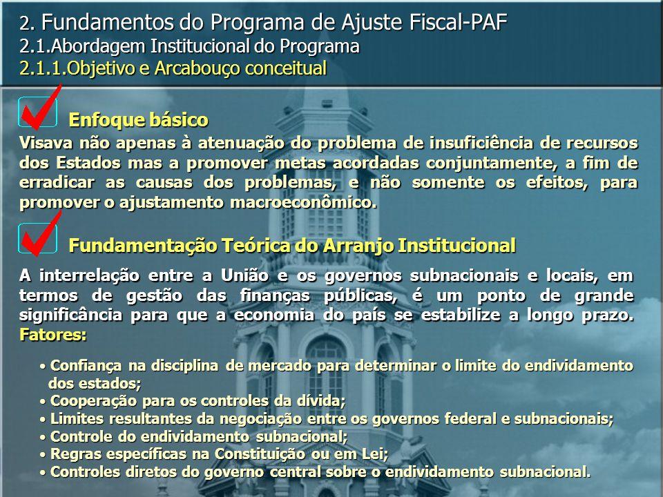2. Fundamentos do Programa de Ajuste Fiscal-PAF 2.1.Abordagem Institucional do Programa 2.1.1.Objetivo e Arcabouço conceitual Visava não apenas à aten