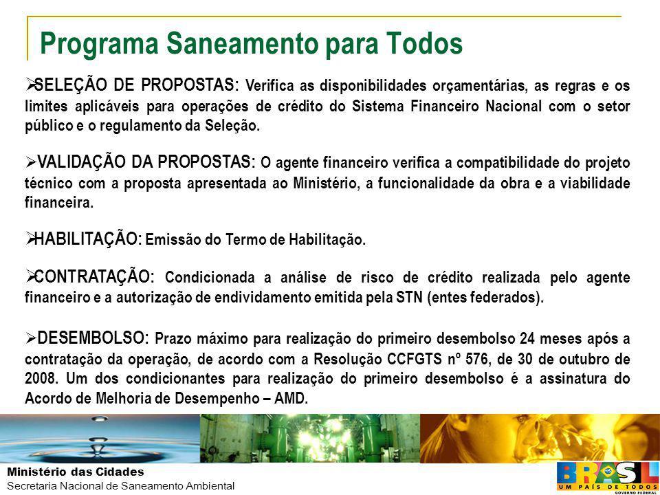 Ministério das Cidades Secretaria Nacional de Saneamento Ambiental Programa Saneamento para Todos SELEÇÃO DE PROPOSTAS: Verifica as disponibilidades o