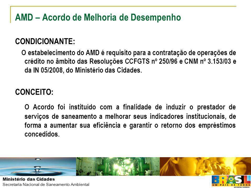 Ministério das Cidades Secretaria Nacional de Saneamento Ambiental AMD – Acordo de Melhoria de Desempenho CONDICIONANTE: O estabelecimento do AMD é re