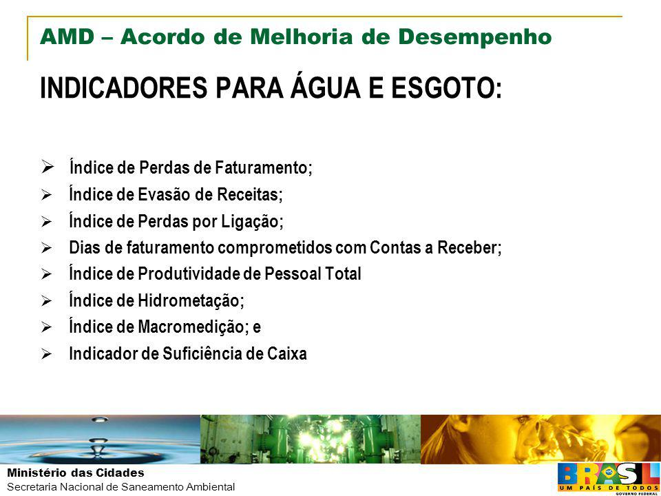 Ministério das Cidades Secretaria Nacional de Saneamento Ambiental AMD – Acordo de Melhoria de Desempenho INDICADORES PARA ÁGUA E ESGOTO: Índice de Pe