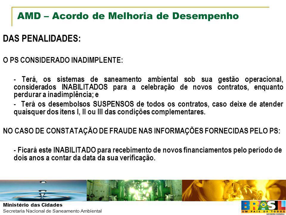 Ministério das Cidades Secretaria Nacional de Saneamento Ambiental AMD – Acordo de Melhoria de Desempenho DAS PENALIDADES: O PS CONSIDERADO INADIMPLEN