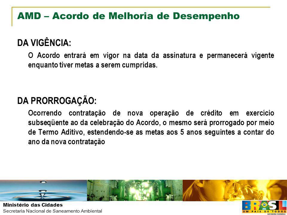 Ministério das Cidades Secretaria Nacional de Saneamento Ambiental AMD – Acordo de Melhoria de Desempenho DA VIGÊNCIA: O Acordo entrará em vigor na da