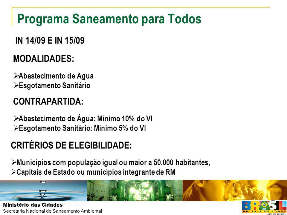Ministério das Cidades Secretaria Nacional de Saneamento Ambiental Programa Saneamento para Todos MODALIDADES: Abastecimento de Água Esgotamento Sanit