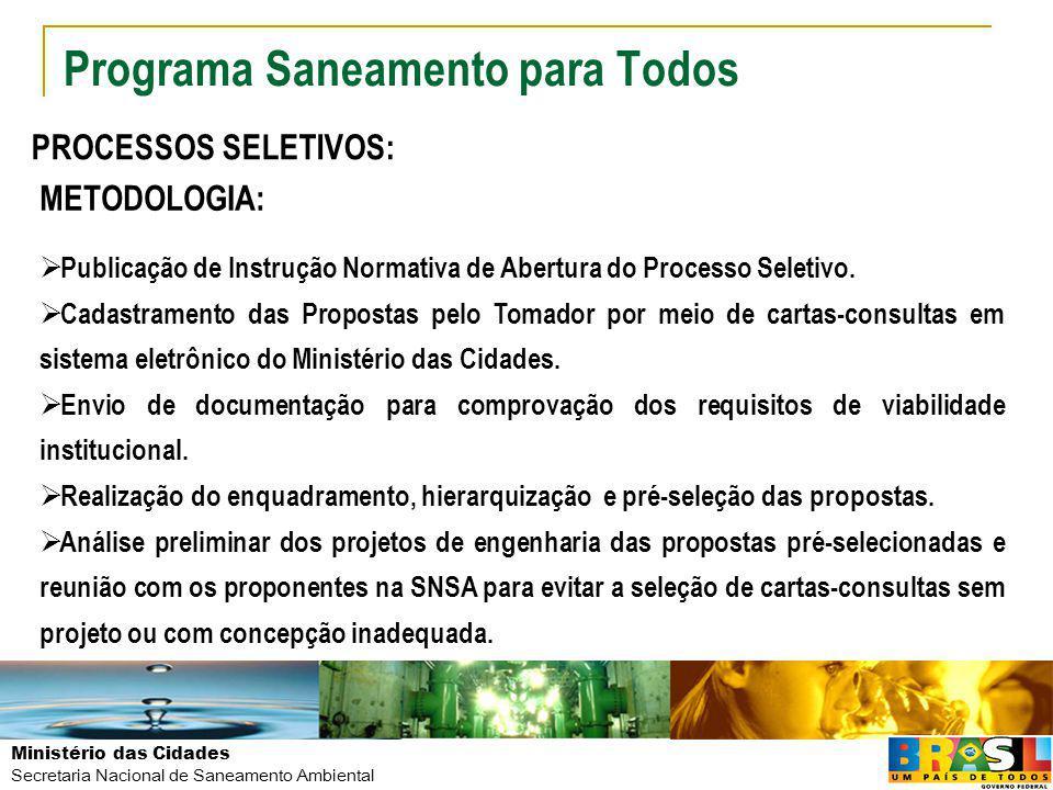 Ministério das Cidades Secretaria Nacional de Saneamento Ambiental Programa Saneamento para Todos PROCESSOS SELETIVOS: METODOLOGIA: Publicação de Inst