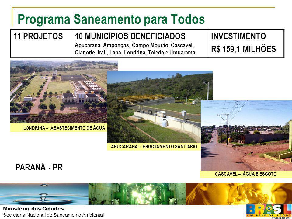 Ministério das Cidades Secretaria Nacional de Saneamento Ambiental Programa Saneamento para Todos 11 PROJETOS10 MUNICÍPIOS BENEFICIADOS Apucarana, Ara