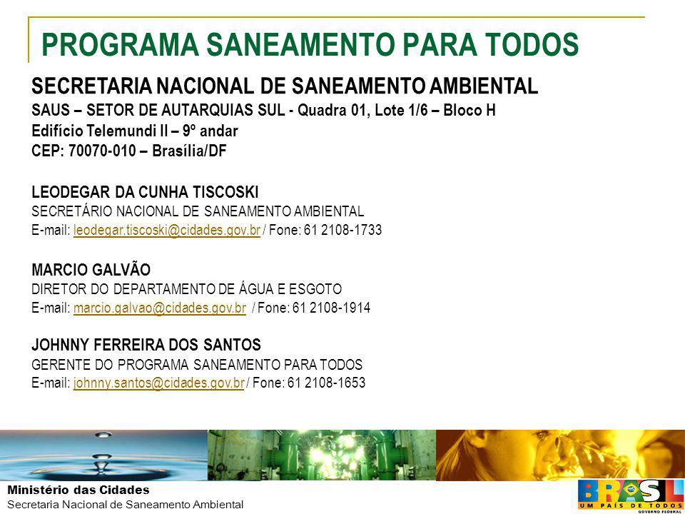Ministério das Cidades Secretaria Nacional de Saneamento Ambiental PROGRAMA SANEAMENTO PARA TODOS SECRETARIA NACIONAL DE SANEAMENTO AMBIENTAL SAUS – S
