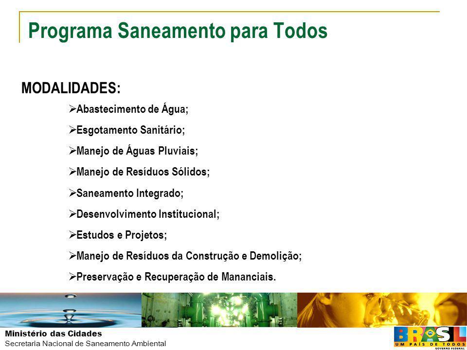 Ministério das Cidades Secretaria Nacional de Saneamento Ambiental Programa Saneamento para Todos MODALIDADES: Abastecimento de Água Esgotamento Sanitário CRITÉRIOS DE ELEGIBILIDADE: Municípios com população igual ou maior a 50.000 habitantes, Capitais de Estado ou municípios integrante de RM CONTRAPARTIDA: Abastecimento de Água: Mínimo 10% do VI Esgotamento Sanitário: Mínimo 5% do VI IN 14/09 E IN 15/09
