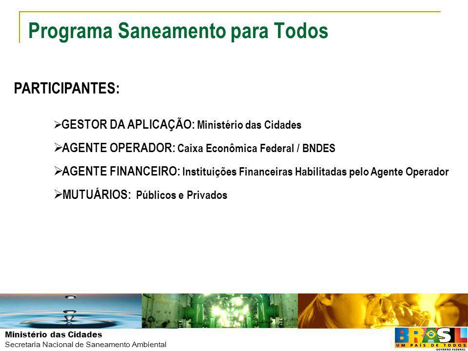 Ministério das Cidades Secretaria Nacional de Saneamento Ambiental PROGRAMA SANEAMENTO PARA TODOS SECRETARIA NACIONAL DE SANEAMENTO AMBIENTAL SAUS – SETOR DE AUTARQUIAS SUL - Quadra 01, Lote 1/6 – Bloco H Edifício Telemundi II – 9º andar CEP: 70070-010 – Brasília/DF LEODEGAR DA CUNHA TISCOSKI SECRETÁRIO NACIONAL DE SANEAMENTO AMBIENTAL E-mail: leodegar.tiscoski@cidades.gov.br / Fone: 61 2108-1733leodegar.tiscoski@cidades.gov.br MARCIO GALVÃO DIRETOR DO DEPARTAMENTO DE ÁGUA E ESGOTO E-mail: marcio.galvao@cidades.gov.br / Fone: 61 2108-1914marcio.galvao@cidades.gov.br JOHNNY FERREIRA DOS SANTOS GERENTE DO PROGRAMA SANEAMENTO PARA TODOS E-mail: johnny.santos@cidades.gov.br / Fone: 61 2108-1653johnny.santos@cidades.gov.br