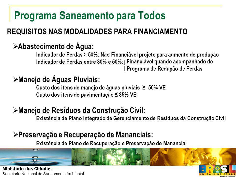 Ministério das Cidades Secretaria Nacional de Saneamento Ambiental Programa Saneamento para Todos 11 PROJETOS10 MUNICÍPIOS BENEFICIADOS Apucarana, Arapongas, Campo Mourão, Cascavel, Cianorte, Irati, Lapa, Londrina, Toledo e Umuarama INVESTIMENTO R$ 159,1 MILHÕES CASCAVEL – ÁGUA E ESGOTO APUCARANA – ESGOTAMENTO SANITÁRIO LONDRINA – ABASTECIMENTO DE ÁGUA PARANÁ - PR