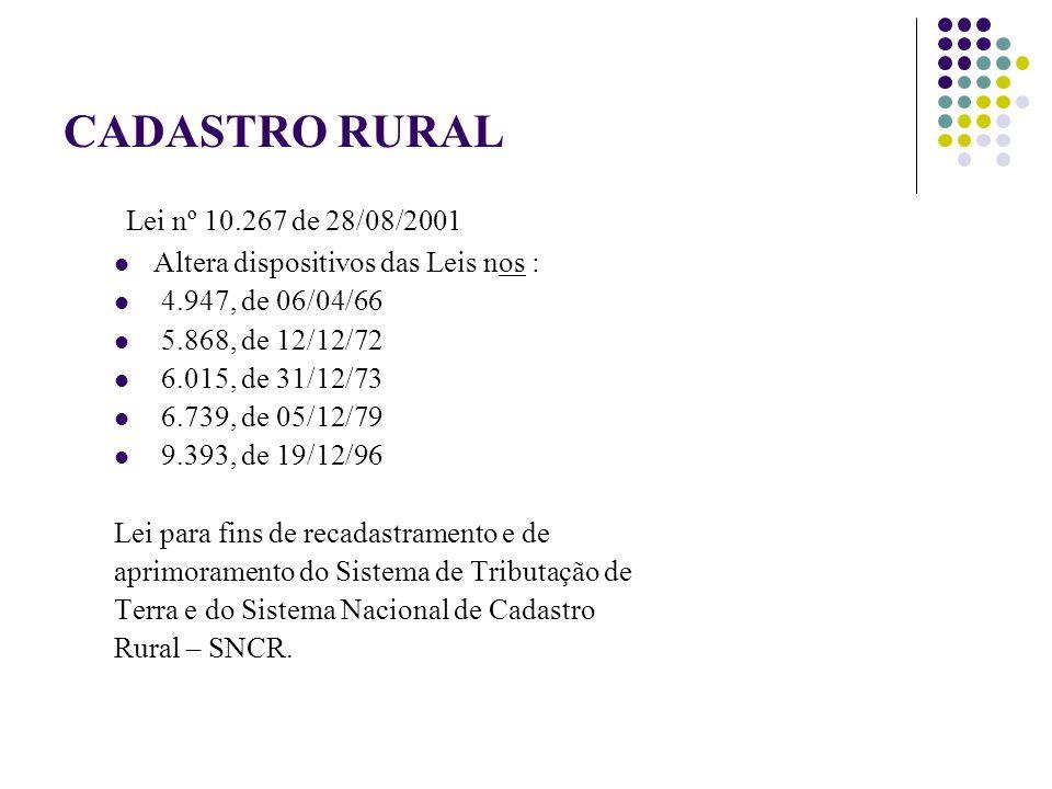 CADASTRO RURAL Lei nº 10.267 de 28/08/2001 Altera dispositivos das Leis nos : 4.947, de 06/04/66 5.868, de 12/12/72 6.015, de 31/12/73 6.739, de 05/12/79 9.393, de 19/12/96 Lei para fins de recadastramento e de aprimoramento do Sistema de Tributação de Terra e do Sistema Nacional de Cadastro Rural – SNCR.