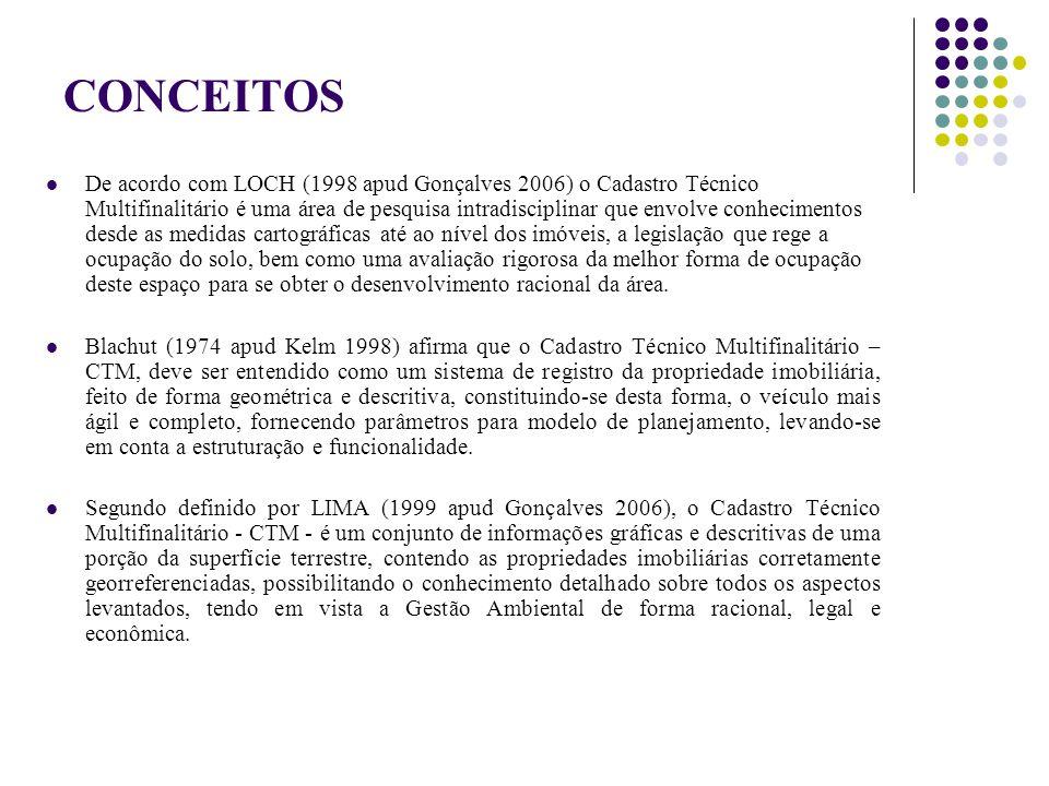 CONCEITOS De acordo com LOCH (1998 apud Gonçalves 2006) o Cadastro Técnico Multifinalitário é uma área de pesquisa intradisciplinar que envolve conhec