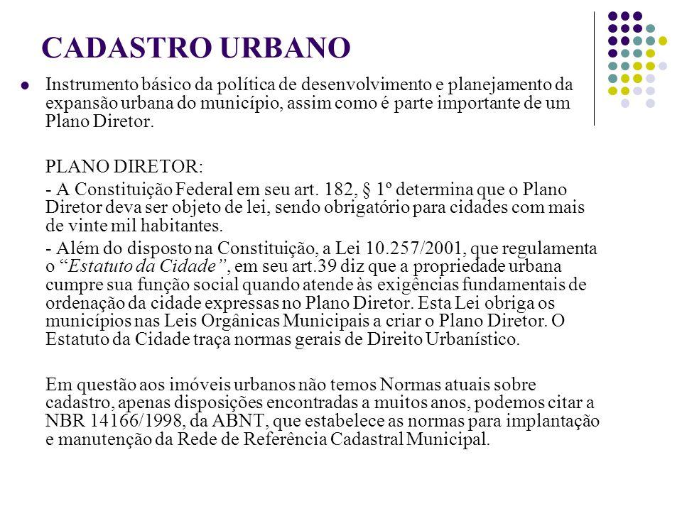 CADASTRO URBANO Instrumento básico da política de desenvolvimento e planejamento da expansão urbana do município, assim como é parte importante de um Plano Diretor.