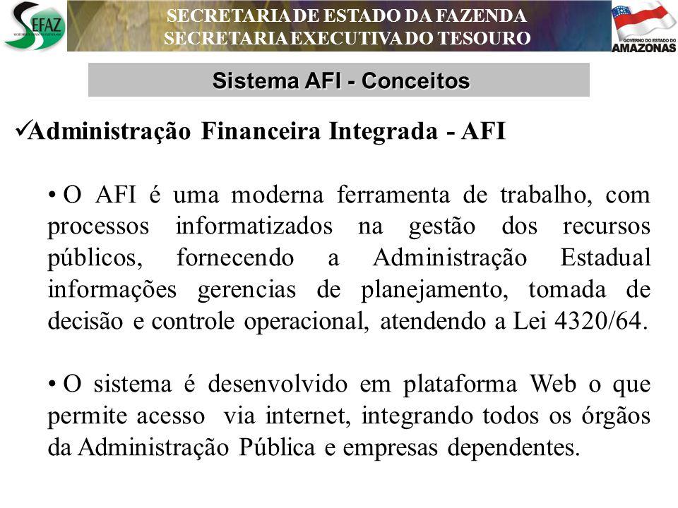 SECRETARIA DE ESTADO DA FAZENDA SECRETARIA EXECUTIVA DO TESOURO DEPARTAMENTO DE CONTABILIDADE PÚBLICA AFEAM Visando aperfeiçoar os controles da execução orçamentária, financeira e contábil do Estado, estão integrados ao AFI: Integrações Sistêmicas - AFI SECRETARIA DE ESTADO DA FAZENDA SECRETARIA EXECUTIVA DO TESOURO