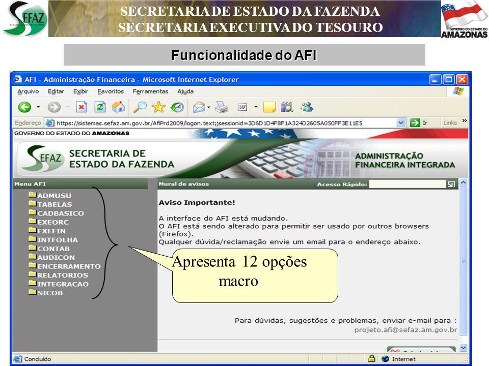 SECRETARIA DE ESTADO DA FAZENDA SECRETARIA EXECUTIVA DO TESOURO SECRETARIA DE ESTADO DA FAZENDA SECRETARIA EXECUTIVA DO TESOURO DEPARTAMENTO DE CONTABILIDADE PÚBLICA Cada opção macro apresenta um menu de pastas específicas de documentos, de cadastro, de consultas e de impressões.