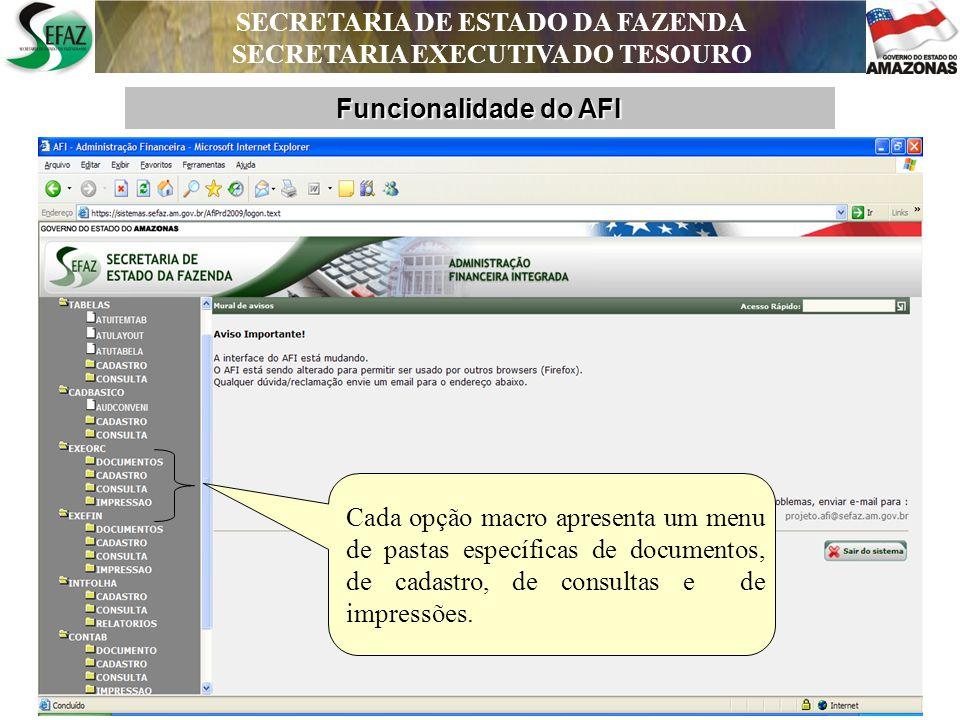 SECRETARIA DE ESTADO DA FAZENDA SECRETARIA EXECUTIVA DO TESOURO DEPARTAMENTO DE CONTABILIDADE PÚBLICA Funcionalidade do AFI SECRETARIA DE ESTADO DA FAZENDA SECRETARIA EXECUTIVA DO TESOURO Anexos: Lei 4.320 Relatórios Gerais: Contempla todos os relatórios de Cadastro, Execução Orçamentária, Financira e Contábil