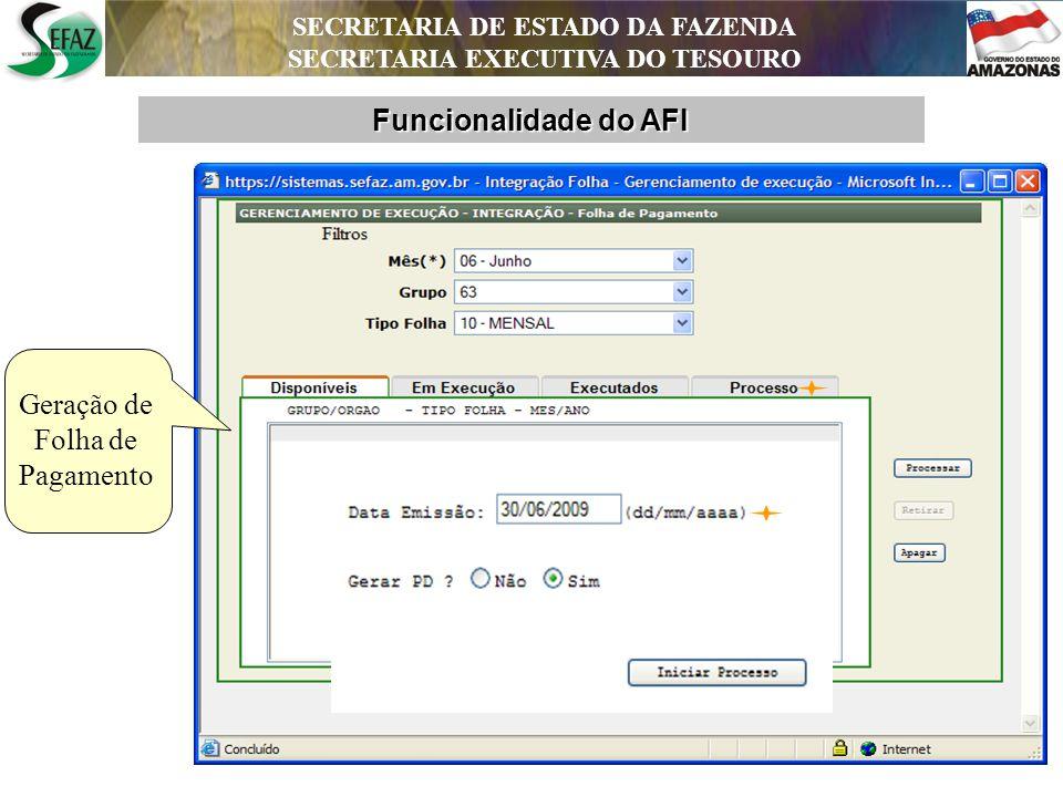 SECRETARIA DE ESTADO DA FAZENDA SECRETARIA EXECUTIVA DO TESOURO Novos Projetos - AFI Conciliação Bancária Automatizada; Automação das Contas Públicas; Adequação do AFI à NBCASP.