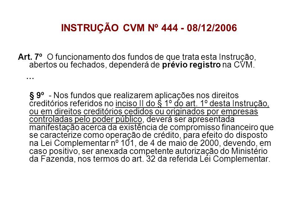 INSTRUÇÃO CVM Nº 444 - 08/12/2006 Art. 7º O funcionamento dos fundos de que trata esta Instrução, abertos ou fechados, dependerá de prévio registro na