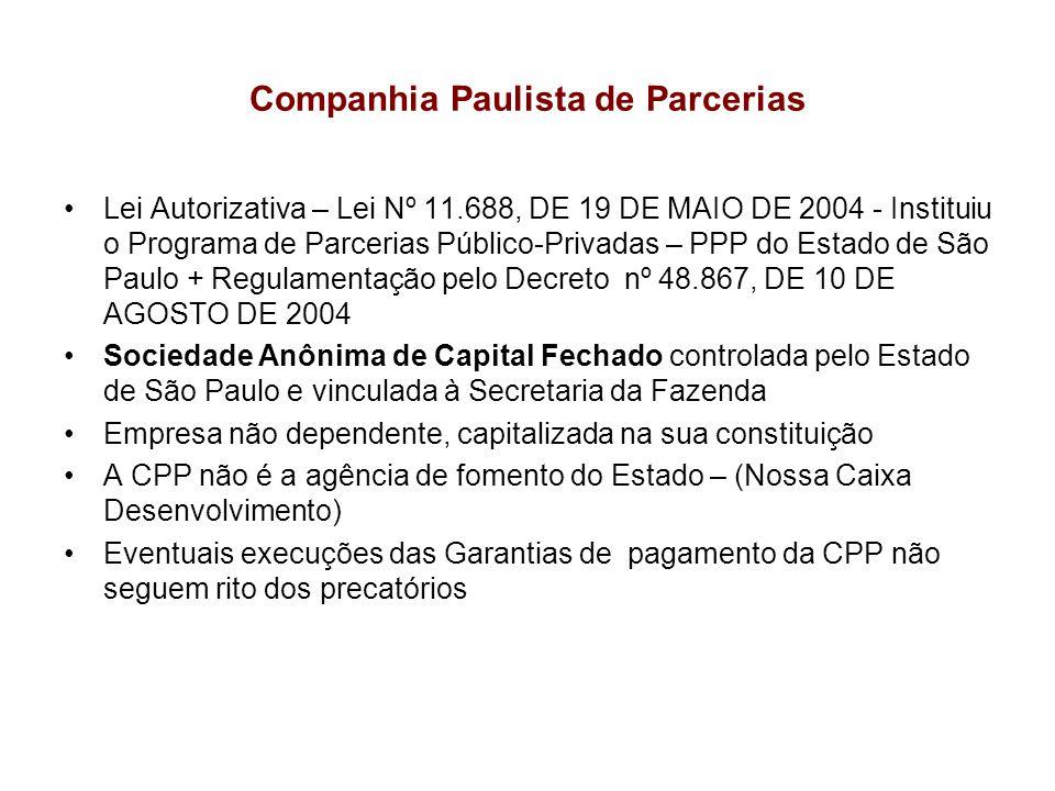 Companhia Paulista de Parcerias Lei Autorizativa – Lei Nº 11.688, DE 19 DE MAIO DE 2004 - Instituiu o Programa de Parcerias Público-Privadas – PPP do
