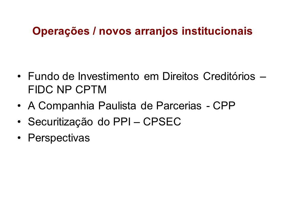 Operações / novos arranjos institucionais Fundo de Investimento em Direitos Creditórios – FIDC NP CPTM A Companhia Paulista de Parcerias - CPP Securit