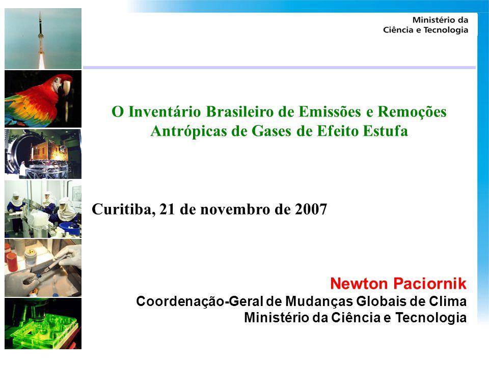 O Inventário Brasileiro de Emissões e Remoções Antrópicas de Gases de Efeito Estufa Curitiba, 21 de novembro de 2007 Newton Paciornik Coordenação-Gera
