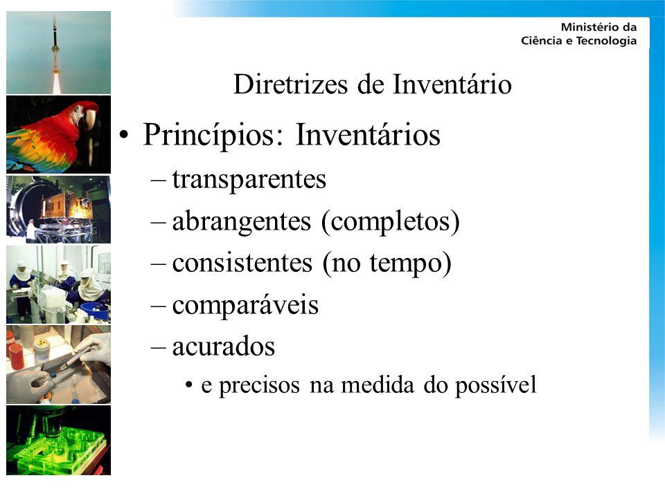 Diretrizes de Inventário Princípios: Inventários –transparentes –abrangentes (completos) –consistentes (no tempo) –comparáveis –acurados e precisos na medida do possível