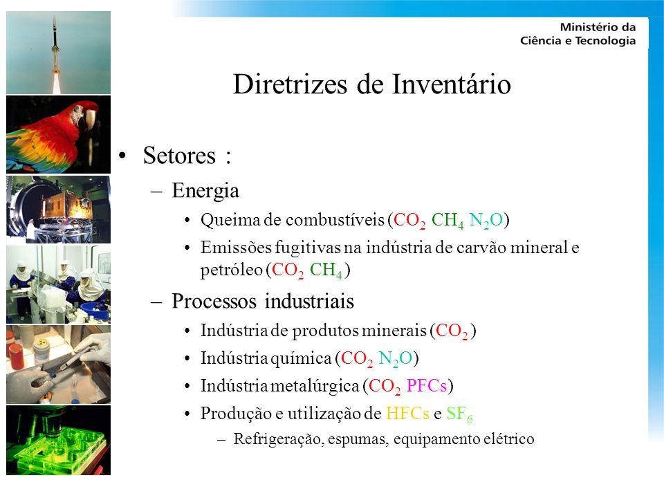 Diretrizes de Inventário Setores : –Energia Queima de combustíveis (CO 2 CH 4 N 2 O) Emissões fugitivas na indústria de carvão mineral e petróleo (CO 2 CH 4 ) –Processos industriais Indústria de produtos minerais (CO 2 ) Indústria química (CO 2 N 2 O) Indústria metalúrgica (CO 2 PFCs) Produção e utilização de HFCs e SF 6 –Refrigeração, espumas, equipamento elétrico