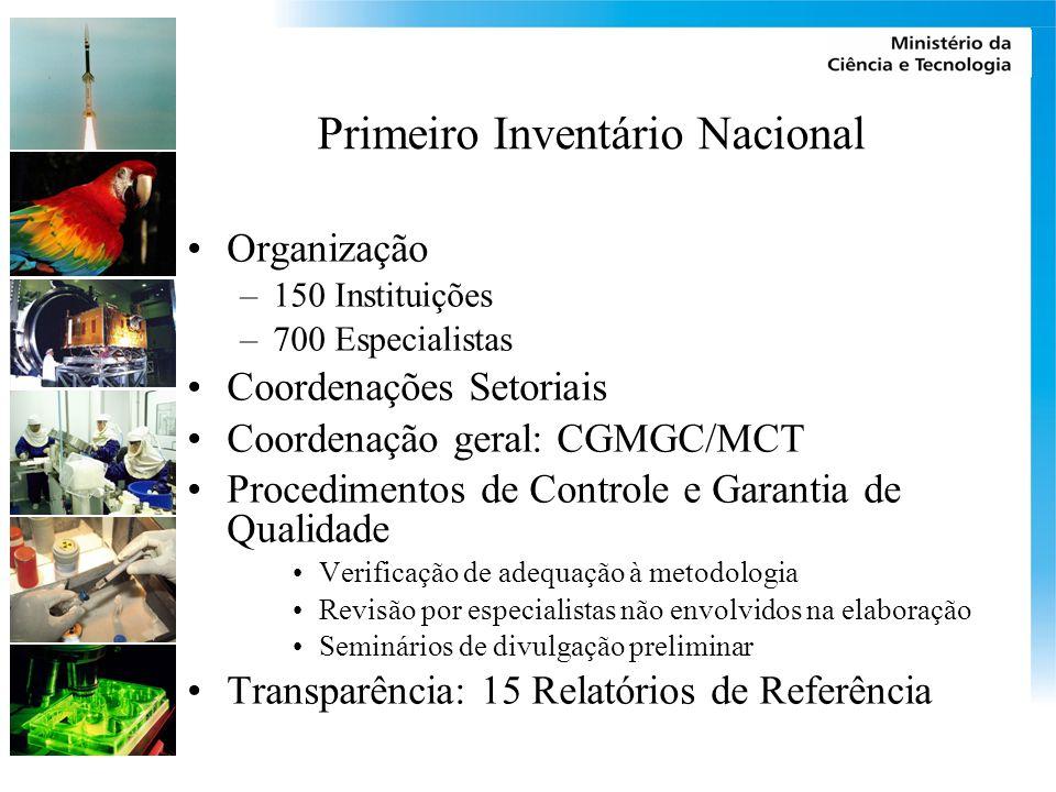Primeiro Inventário Nacional Organização –150 Instituições –700 Especialistas Coordenações Setoriais Coordenação geral: CGMGC/MCT Procedimentos de Con