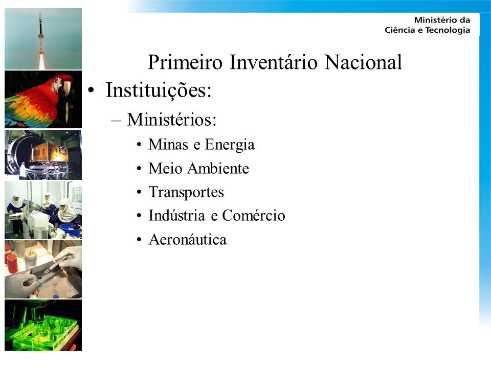 Primeiro Inventário Nacional Instituições: –Ministérios: Minas e Energia Meio Ambiente Transportes Indústria e Comércio Aeronáutica