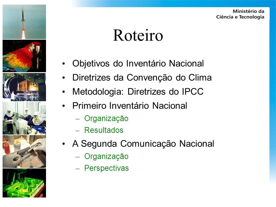 Roteiro Objetivos do Inventário Nacional Diretrizes da Convenção do Clima Metodologia: Diretrizes do IPCC Primeiro Inventário Nacional – Organização – Resultados A Segunda Comunicação Nacional – Organização – Perspectivas