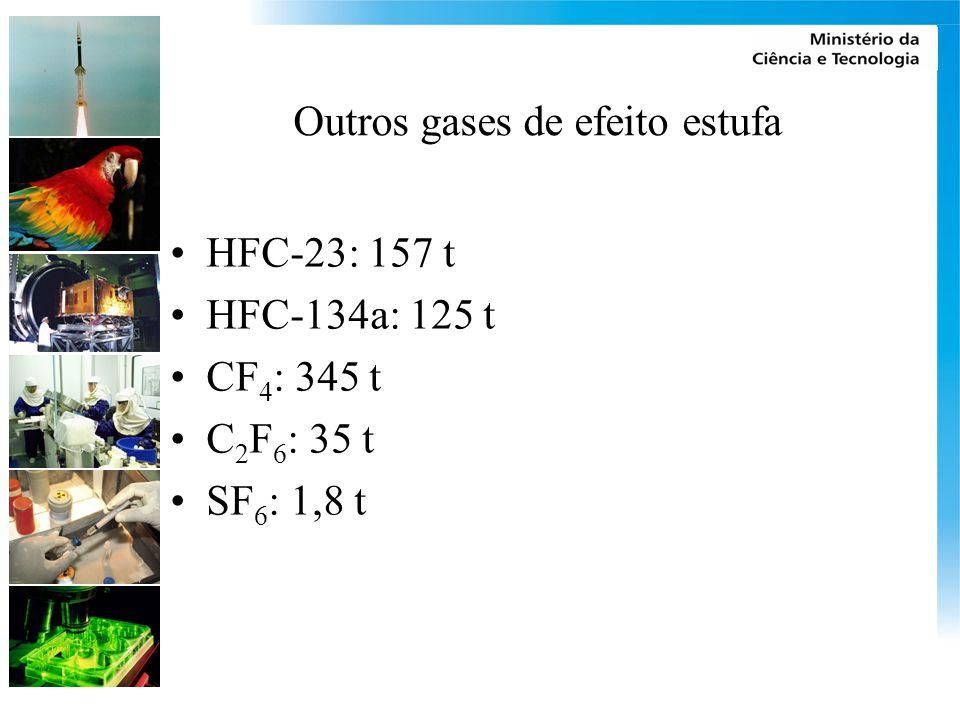 Outros gases de efeito estufa HFC-23: 157 t HFC-134a: 125 t CF 4 : 345 t C 2 F 6 : 35 t SF 6 : 1,8 t