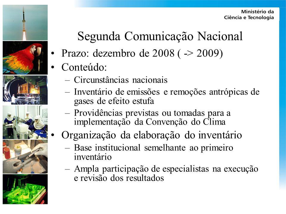Segunda Comunicação Nacional Prazo: dezembro de 2008 ( -> 2009) Conteúdo: –Circunstâncias nacionais –Inventário de emissões e remoções antrópicas de g