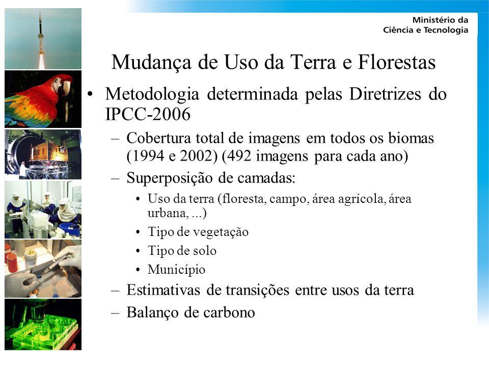 Mudança de Uso da Terra e Florestas Metodologia determinada pelas Diretrizes do IPCC-2006 –Cobertura total de imagens em todos os biomas (1994 e 2002)