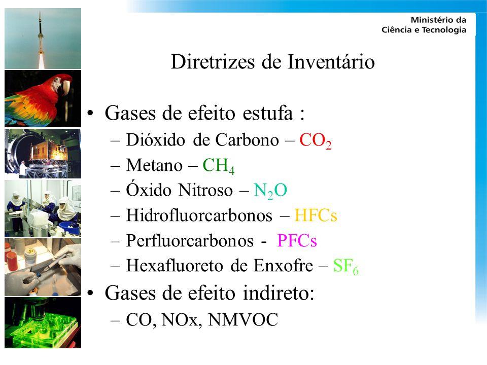 Diretrizes de Inventário Gases de efeito estufa : –Dióxido de Carbono – CO 2 –Metano – CH 4 –Óxido Nitroso – N 2 O –Hidrofluorcarbonos – HFCs –Perfluorcarbonos - PFCs –Hexafluoreto de Enxofre – SF 6 Gases de efeito indireto: –CO, NOx, NMVOC